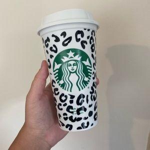 Custom hot Starbucks cup cheetah print